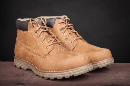 Photo pour Bottes en cuir brun pour hommes. Chaussures d'hiver élégant - image libre de droit