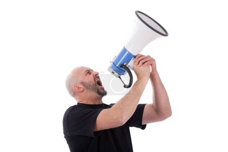 Photo for Portrait of angry man shouting with a megaphone. Bearded man yelling into a megaphone. - Royalty Free Image