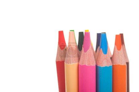 Photo pour Crayons de couleur isolés sur fond blanc, gros plan - image libre de droit