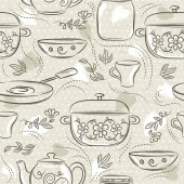 Beige seamless patterns with different tableware flower pot saucepan cup Ideal for printing onto fabric and paper or scrap booking