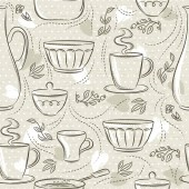 Beige seamless patterns with different tableware flower cup pan Ideal for printing onto fabric and paper or scrap booking