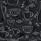 Seamless patterns with different tableware flower cup pan on blackboard Ideal for printing onto fabric and paper or scrap booking