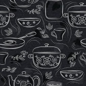 Seamless patterns with different tableware flower pot saucepan cup on black chalkboard Ideal for printing onto fabric and paper or scrap booking
