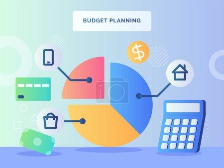 Budged planning concept pie chart piece house shop...