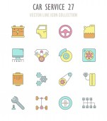 Collection vector flat icons with thin line elements Set of modern clean outline signs symbol and vector art of car service Simple linear infographic and pictogram series for web