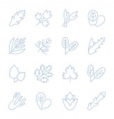 Set of vector line icons sign and symbols with flat elements of greenery for modern concepts web and apps Collection of infographics logos and pictograms