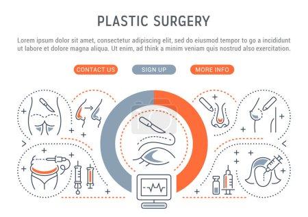 Illustration pour Bannière linéaire de chirurgie plastique. Icônes pour sites web et applications . - image libre de droit