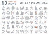 Set Vector Line Icons of United Arab Emirates