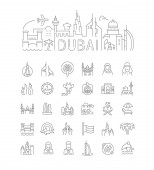 Linear Illustration of Dubai with Icons