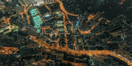 Photo for Hong Kong In Night Time Aerial View - Royalty Free Image