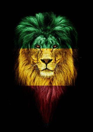 Photo pour Portrait d'un concept de beau lion, de faceart et de patriotisme. Portrait d'un chef de file. roi. Portrait d'un lion avec une projection du drapeau de l'Éthiopie. Patriote de son pays - image libre de droit