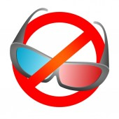 Red prohibition sign with black design 3D movie glasses for cinema and 3D TV with blue and red glass Prohibit the use 3D electronic Do not use glasses on a white background