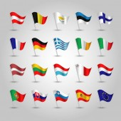 vector set of waving flags eurozone on silver pole - icon of european union states eu