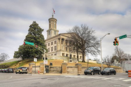 Photo pour Nashville, Tennessee, United States - January 15, 2019: Tennessee State Capitol building in Nashville. Designed by architect William Strickland and opened in 1859, January 15, 2019, Nashville - image libre de droit