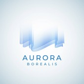 Aurora Borealis Abstract Vector Sign Emblem or Logo Template Premium Quality Northern Lights Symbol in Blue Colors with Modern Typography