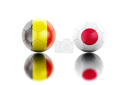 3d illustration. Soccer balls with Belgium and Japan flags. Sports concept. Isolated white background.