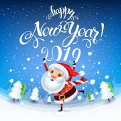 Santa Claus with the symbol of 2019 on skates rushes for holiday on the field with Christmas treesChristmas time with snow and giftsDecoration of a poster card and holiday background 2019 New year