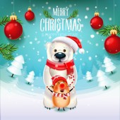 New year Bear with the symbol of 2019 pig on the field with Christmas trees branches and toys Christmas time with snow and giftsDecoration of a poster card and holiday background 2019 New year