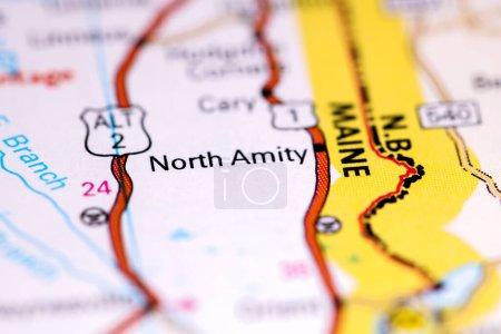 Photo pour North Amity. Maine. États-Unis sur une carte - image libre de droit
