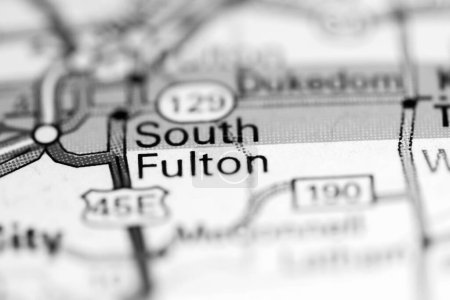 South Fulton. Tennessee. USA on a geography map...
