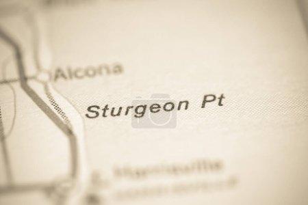 Photo pour Sturgeon Point. Michigan. États-Unis sur une carte géographique. - image libre de droit