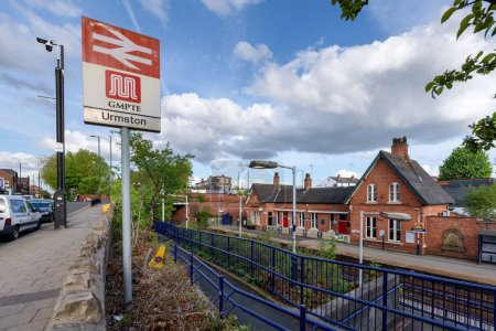 Urmston railway station in Urmston, Greater Manchester, England, is 5 /2 miles west of Manchester Oxford Road on the Manchester-Liverpool Line.