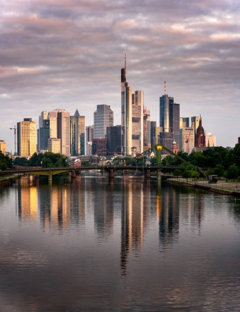Photo for Reflection of financial district building at sunrise, Frankfurt, Germany. - Royalty Free Image