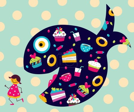 Illustration for The girl runs away from the whale with sweets. Funny vector illustration. - Royalty Free Image
