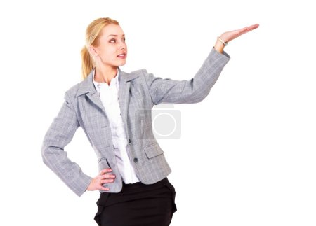 Photo for A full length portrait business woman shows something, isolated on white background - Royalty Free Image