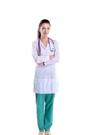 Smiling female doctor with a folder in uniform standing at hospital. Smiling female doctor