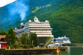 Norway fjord landscape and cruise ships in Flam
