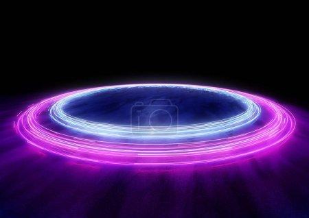 Foto de Neón Círculos de coches pistas de luz. Ilustración 3D - Imagen libre de derechos