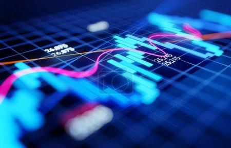 Photo pour Fermez-vous vers le haut et focalisez le diagramme de chandelier d'investissement d'affaires de marché boursier - concept d'économie et de négociation. Illustration 3d. - image libre de droit