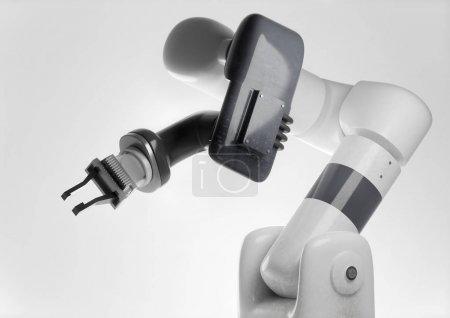 Photo pour Un bras robotique programmable à la recherche moderne pour une utilisation dans la production de fabrication automatique. Illustration 3d de robot générique. - image libre de droit