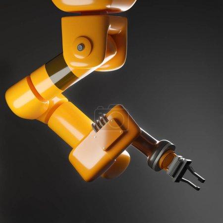 Photo pour Un bras robotique automatique industriel pour la fabrication de produits. Illustration 3d de robot industriel. - image libre de droit