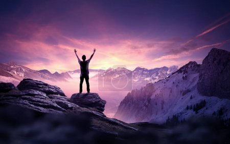 Photo for A man standing and reaching up into the sky. Goals, ambition and determination business concept. Photo composite. - Royalty Free Image