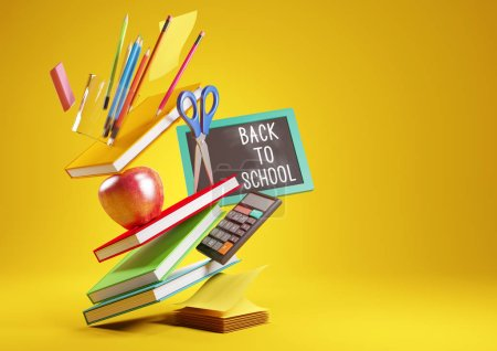 Photo for A back to school background with stacked items and student accessories. 3D render illustration. - Royalty Free Image