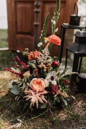 Photo for Beautiful vintage lanterns, rustic style with flowers - Royalty Free Image