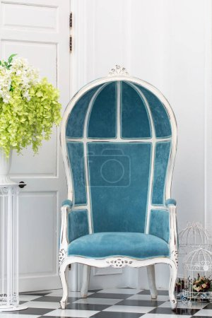 Photo for Blue classical style Armchair sofa couch in vintage room - Royalty Free Image