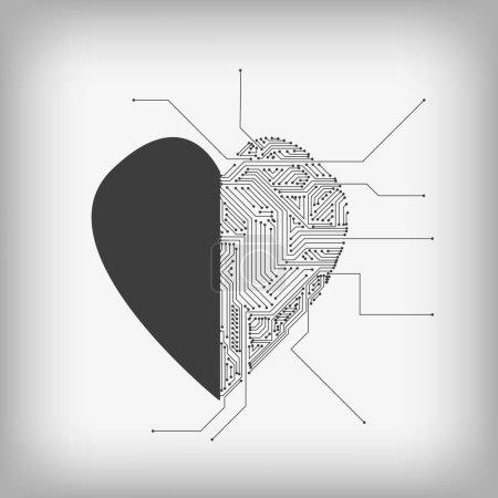 Vektor: Herz und elektronische Schaltung auf grauem Hintergrund