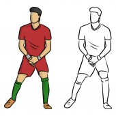 male soccer player forming a wall to protect the gate from the penalty spot vector illustration sketch doodle hand drawn with black lines isolated on white background