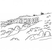 hollywood sign vector illustration sketch doodle hand drawn with black lines isolated on white background