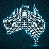 Abstract Australia map of glowing radial dots