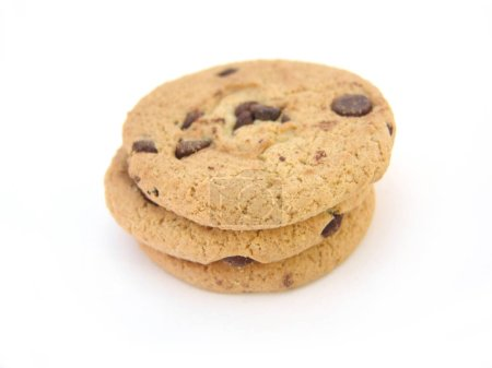 Photo for Stack of chocolate chip cookies isolated over white background - Royalty Free Image