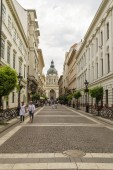 Views of St. Stephen's Basilica in Budapest.
