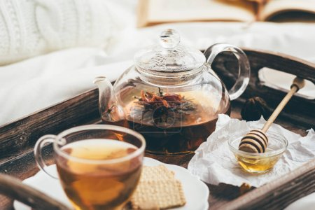 Photo for Warming tea in bed. Window light - Royalty Free Image