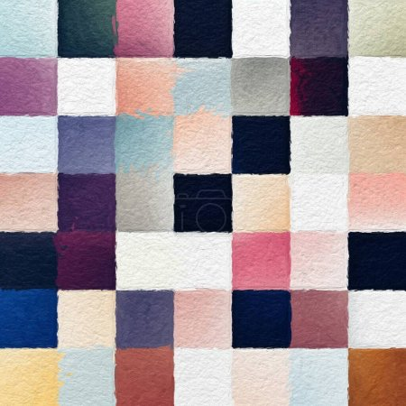 Photo for Colorful abstract mosaic with a rough texture background. Sweet color square pattern background. Picture for creative wallpaper or design art work. Backdrop have copy space for text. - Royalty Free Image