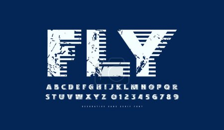 Ilustración de Decorative sans serif font. Bold face. Letters and numbers with rough texture for logo and label design in military style. White print on blue background - Imagen libre de derechos