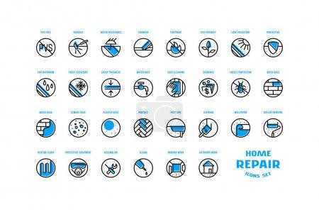 Ilustración de Reparación del hogar y iconos de construcción establecidos en estilo de línea delgada con placa de color de desplazamiento. Para embalaje, etiqueta y diseño web. Aislado sobre fondo blanco - Imagen libre de derechos