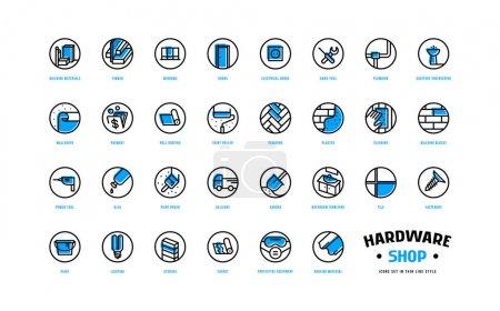 Ilustración de La tienda de hardware y los iconos de construcción se establecen en estilo de línea delgada con placa de color de desplazamiento. Para embalaje, etiqueta y diseño web. Aislado sobre fondo blanco - Imagen libre de derechos